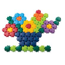 """These large interlocking plastic tiles are over 2"""" across-just the right size for little hands. Rainbow Mosaic Pattern Puzzles also snap together and come apart quickly and easily. As they create huge floor mosaics, children will explore colors and shapes, develop early math concepts like patterns and matching and improve motor skills and hand-eye coordination. Includes 96 hexagonal tiles in eight colors and 20 pattern ideas on double-sided cards. $29.95"""