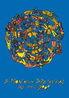 Montreux Jazz Festival - Poster 2000 by Albin Christen. Festival Jazz, Montreux Jazz Festival, Festival Posters, Concert Posters, John Armleder, Jazz Poster, Gig Poster, Jazz Concert, Vintage Posters