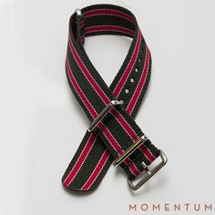 Green and red striped nato available in steel buckle: http://momentum-dubai.com/collections/watch-straps/products/watch-strap-nato-green-red-striped