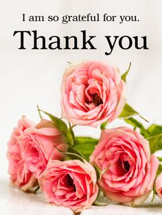 Pink Rose Thank You Card. Pink roses convey gratitude and appreciation - so double the feeling by sending both these roses and a card! These flowers are a super sweet card to send, mirroring the actions of the one you're sending this too. Helping others gracefully is something to be admired and should be proudly and promptly thanked. Let those who have assisted you this past week know how much you appreciated their aide.