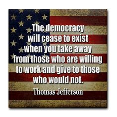 'Jefferson: Democracy Will Cease To Exist Tile Coa Tile Coaster by MarshEnterprises