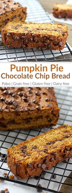Pumpkin Chocolate Chip Bread The added chocolate in this pumpkin bread will satisfy any sweet tooth and best of all, it's low in sugar. Healthy Pumpkin Bread, Gluten Free Pumpkin Bread, Healthy Bread Recipes, Pumpkin Chocolate Chip Bread, Gluten Free Baking, Real Food Recipes, Free Recipes, Dairy Free Pumpkin Recipes, Muffin Recipes
