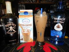 Chocolate Caramel Dream, Pinnacle Chocolate Whipped Vodka, Trader Vic's Chocolate Liqueur, Caramel Iced Coffee!