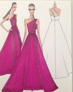 Nick Verreos fashion illustration of a NIKOLAKI silk gazar one shoulder ball gown