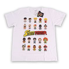 White Mini Street Fighter Row Characters T-Shirt https://www.retrogamingstores.com/gaming-accessories/novelty-street-fighter-t-shirt-size-medium-white-style-2-rows  Bring your favorite characters to your shirt and show them off to your friends.