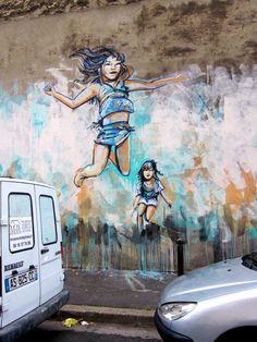 """"""" C'est la joie !"""" / Street art. / Athènes. / Greece. / Grèce. / By Alice Pasquini."""
