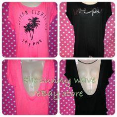 NWT Victoria's Secret Pink Lots of 2 Set of Two Foil Love Logo Tee T Shirts M L | eBay