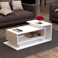 Table Basse Colindas Modern living room style is easy to create with this Colindas Coffee Table! It features a simple, asymmetric design and three shelves. You'll love having your favorite books, magazines or media items easily accessible. Coffee Table Design, Diy Coffee Table, Coffee Coffee, Coffee Table Furniture, Coffee Club, Coffee Maker, Centre Table Living Room, Table Decor Living Room, Center Table