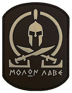 Spartan Molon Labe Tactical Morale Patch www.shadez-of-gra. Tactical Patches, Tactical Gear, Tactical Jacket, Tactical Backpack, Airsoft, Moral Patch, Badges, Spartan Tattoo, Cool Patches