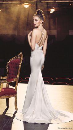 paloma blanca fall 2016 bridal sleeveless round neckline simple chic elegant fit and flare wedding dress low back sweep train (4703) bv