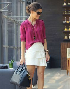 Must try wearing a pink blouse and white skirt together -I have similar pieces to these.