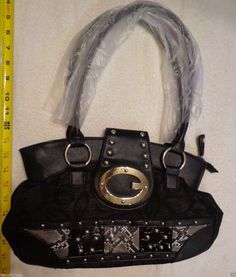 27.68$  Watch now - http://viozf.justgood.pw/vig/item.php?t=mbwptm150605 - Womens G Style Satchel Hand Bag BLACK Grey Gold New Animal Print patch 27.68$