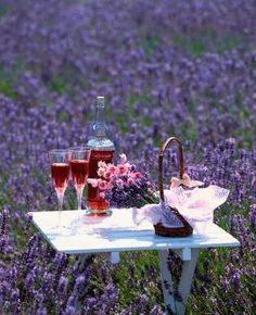 Wine and a lavender field