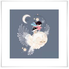 """Night Watch - Blue"" Owl Art Prints for Kids by Schmooks for Oopsy Daisy $29 - $129"