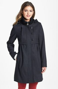 DKNY Knit Collar Babydoll Coat with Detachable Hood (Online Only) available at #Nordstrom (replica)