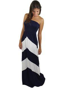 White And Navy Chevron Maxi Dress