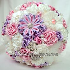 Fabric Wedding Bouquet Brooch bouquet Romantic Ivory Pink by LIKKO