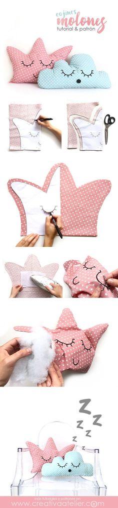 Cojines decorativos DIY - Cojín corona y cojín nube - Tutorial y patrones gratuitos Fabric Crafts, Sewing Crafts, Sewing Projects, Diy Projects, Sewing For Kids, Baby Sewing, Diy For Kids, Cute Pillows, Diy Pillows