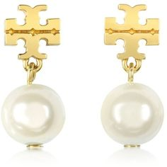 Tory Burch Earrings Logo Gold Tone Pearl Drop Earring ($100) ❤ liked on Polyvore featuring jewelry, earrings, pearl jewellery, logo earrings, logo jewelry, earrings jewelry and white pearl earrings