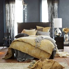 Gold and gray. Organic Winter Berry Duvet Cover + Shams   west elm