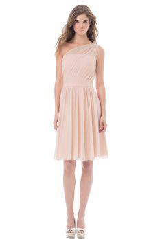 Brides: Bill Levkoff. Chiffon one shoulder short dress with asymmetrical pleats. Self band at the waist, soft gathers embellish the skirt.