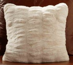 Ruched Faux Fur Pillow Cover - Ivory | Pottery Barn