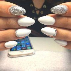 Almond Long White Nails with Gemstone; Gemstone Nails;Almond Nails;Nails Trend;Nails Art;Nails design;Nails Art;Nails acrylic;Nails winter; 10 Nail Trends For Winter Stylish winter acrylic nails. White Sparkle Nails, White And Silver Nails, Long White Nails, Silver Acrylic Nails, Matte White Nails, Silver Glitter Nails, White Almond Nails, White Nails With Glitter, Glitter Art
