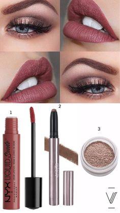 1) #NYX #Professional #Makeup – Liquid Suede Cream #Lipstick: Soft Spoken 2) #Girlactik #Beauty – #Metallic #Shadow Stick: #Cashmere 3) #MakeupGeek – #Pigment : #SweetDreams
