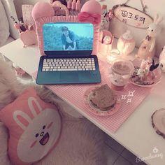 kawaii December 07 2019 at My New Room, My Room, Kawaii Bedroom, Otaku Room, Cute Desk, Gaming Room Setup, Gamer Room, Pink Room, Aesthetic Rooms