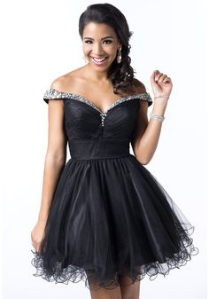 V Neck Short Black Tulle A Line Homecoming Dress