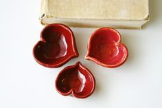 I LOVE YOU - Ceramic Heart Dish - Ring Catcher - in Romantic Rustic Red - One Dish. $18,00, via Etsy.