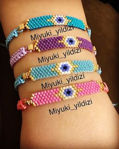 Miyuki bileklik - It Tutorial and Ideas Bead Loom Bracelets, Beaded Bracelet Patterns, Bead Loom Patterns, Beading Patterns, Beaded Earrings, Beading Ideas, Beading Supplies, Seed Bead Jewelry, Beaded Jewelry