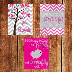 Cool colours  Nursery Printable Art Set of 3 Psalm 139  Baby Girls by JoyfulINK, etsy