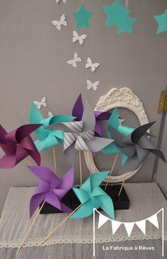 10 Moulins à vent turquoise violet et gris - décoration chambre bébé fille garçon - décoration baptême - décoration mariage -  accessoires