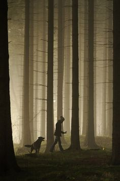 "(Open RP. I'm the girl) I walk around the forest alone. At least I thought I was alone. Then I saw him with his dog. The dog growled my way and I hid in a hollow tree, looking through a small hole in it. ""What is it boy?"" He asks looking at the dog. He looks around and I hide so he couldn't see me. I wait a minute and when I turn around I see him in front of me. ""Who are you?"" He says holding a dagger."
