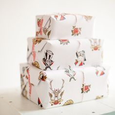 Animal Tattoo Wrapping Paper - Two Sheets (Fox, Badger, Owl, Bunny, Deer)