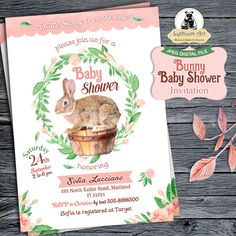 Bunny Baby Shower Invitation  Baby Shower Invitation by LythiumArt