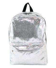 Look at this #zulilyfind! Silver Glitter Metallic Backpack #zulilyfinds