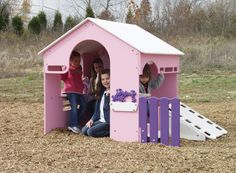 Sportsplay's Pink Tot Town Tot House is a fantastic playhouse for your children to socialize and interact! It's made of durable polyethylene for years of constant playground use. This playhouse creates great opportunities for creative exploration and will enhance your playground indoor or out! www.noahsplay.com