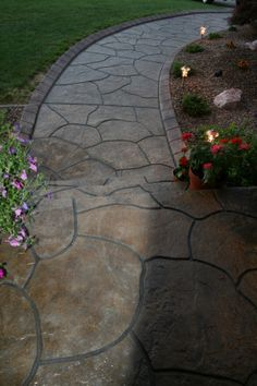 Stamped Concrete walkway idea.