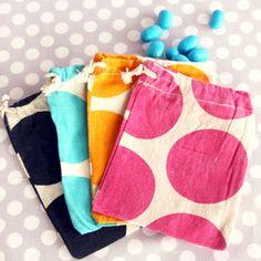 polka dot drawstring pouches