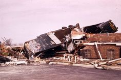A tractor trailer overturned in Xenia by the 1974 tornado.