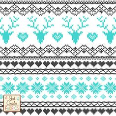 "Turquoise Charcoal FairIsle Deer Heart on White Cotton Jersey Blend Knit Fabric - A new Girl Charlee Exclusive design!!  A vintage style Fair Isle stitched sweater design that looks like a knitted sweater pattern with reindeer, hearts, and snowflakes  in turquoise and charcoal gray on our soft white cotton jersey blend knit.  Fabric is light to mid weight with a nice stretch so can be used for many different applications.  Stag deer measures 2 "".  Made in Los Angeles!  ::  $6.50"