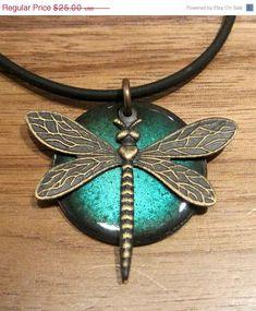 SALE Dragonfly Pendant Copper Enamel Jewelry Water by Steinvika, $22.50