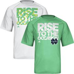 Notre Dame Basketball 'Rise To The Occasion' Short Sleeve T-Shirt. Make an impact with this motivating Notre Dame 'Rise to the Occasion' t-shirt. Raglan short sleeve t-shirt features ClimaLite fabric that wicks perspiration away to help you stay cool and dry. T-shirt features the 'Rise to the Occasion' headline, the adidas logo, and the 'ND' logo screen-printed on the front. 100% Polyester. On Backorder.