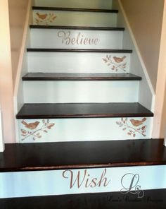 Give your staircase a dash of personal style using paint and stencils.