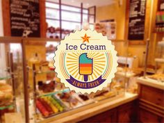 cik790 Full Color Wall decal Showcases Ice Cream food Cafe snack shop