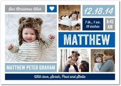 Cherished Gift - Winter Boy Birth Announcements - Robyn Miller - Pool - Blue : Front