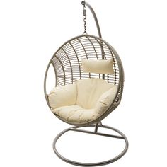 Indoor Outdoor Hanging Chair ($500) ❤ liked on Polyvore featuring home, outdoors, patio furniture, hammocks & swings, chair, outdoor and outdoor hanging chair