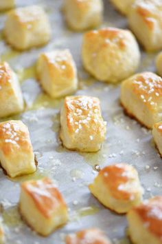 Two Ingredient Dough Pretzel Bites are EASY to make. No yeast and no waiting for dough to rise. Just mix dough, cut, dip in baking soda water and bake! Pretzel Dough, Pretzel Bites, Appetizer Recipes, Snack Recipes, Dessert Recipes, Desserts, Holiday Appetizers, Healthy Recipes, Ww Recipes